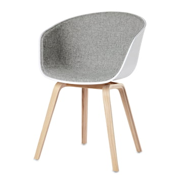 Hay - About A Chair AAC 22, four-legged frame (soaped oak wood), white, front unpholstery Remix 123 light grey, plastic glides