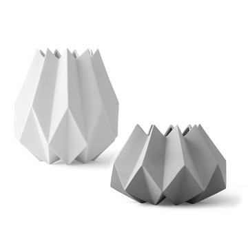 The Folded Vases in white and carbon by Menu