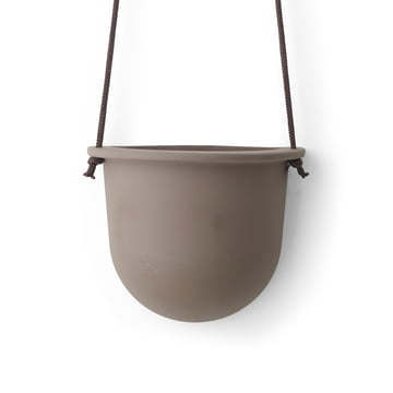 The Hanging Vessel Ceramic Planter by Menu in taupe.
