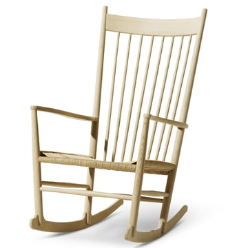 J16 Rocking Chair by Fredericia in soaped black with paper cord in nature