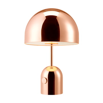 Bell table lamp with cable by Tom Dixon made of copper-plated steel