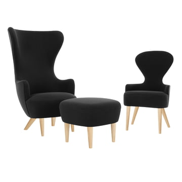 Wingback Chair with ottoman by Tom Dixon in oak with upholstery in black