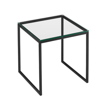 Hans Hansen - Less H 22/2 Coffee Table with Sled-Base Frame, Black / Glass Top Transparent