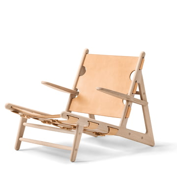 Hunting Chair by Fredericia made from soaped oak and saddle leather