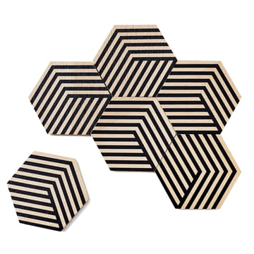 Set of 6 Table Tiles Optic Coasters by Areaware in black