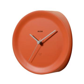 Ora In corner clock by Alessi in orange