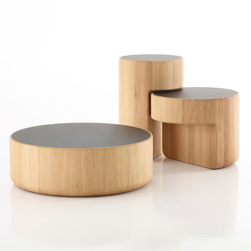 The Levels Nesting Tables, set of 3 in oiled oak / black (RAL 9005) by Peruse