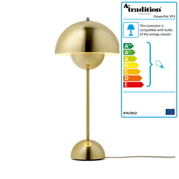 &Tradition - FlowerPot Table Lamp VP3, polished brass