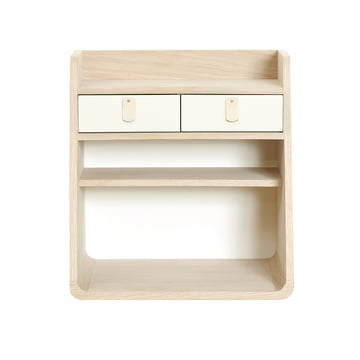 Suzon wall-mounted Storage by Hartô MDF in oak with white drawers