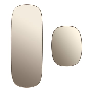 A large and small Framed mirror in taupe glass.