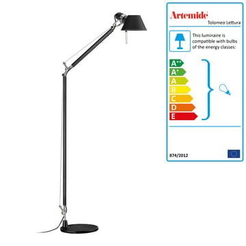 Tolomeo Lettura Standard Lamp by Artemide in Black