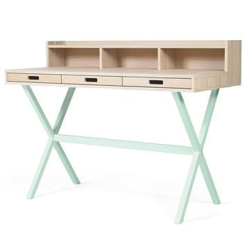 Hyppolite Secretary Desk by Hartô in oak pastel green (RAL 6019)