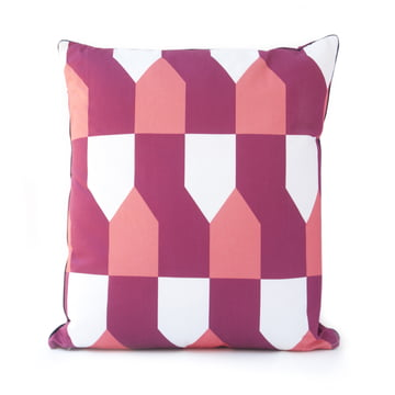 Grand Octave Cushion 50 x 50cm by Hartô in Bordeaux and coral