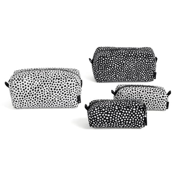 The dot wash bag in S / L and the colours white / black by Hay