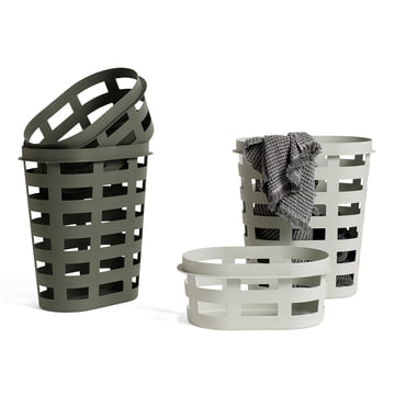 The Hay - laundry basket in light grey and army, S / L