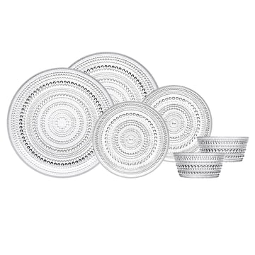 Iittala - Kastehelmi clear, Bowls and Plate Set (6 pcs.)
