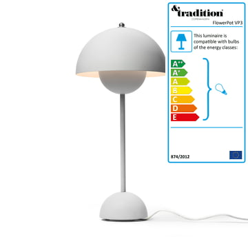 &Tradition - FlowerPot Table Lamp VP3, light grey matte