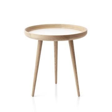 The applicata - Table Ø 49cm, oak / white laminate