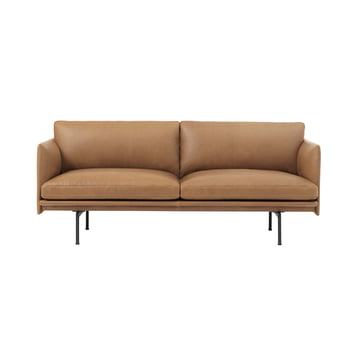 Outline Sofa 2-seater by Muuto in cognac silk leather / traffic black (RAL 9017)