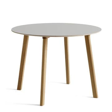 Hay - Copenhague CPH Deux 220 table Ø 98 cm, painted oak with linoleum light grey
