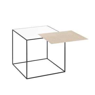 by lassen - Twin 35 Side Table, black, white / oak
