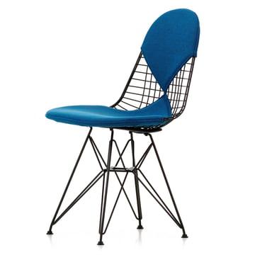 Vitra - Wire Chair DKR-2 Bikini, Hopsak blue, mud brown / black frame / felt glides (basic dark)
