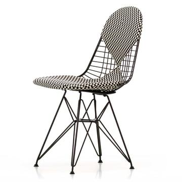 Vitra - Wire Chair DKR-2 Bikini, Hopsak Checker / black frame / felt glides (basic dark)