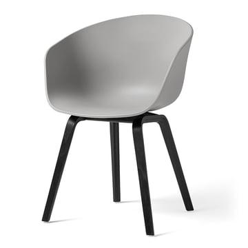 Hay - About A Chair AAC 22, wooden four-leg frame, black / concrete grey (felt glides)