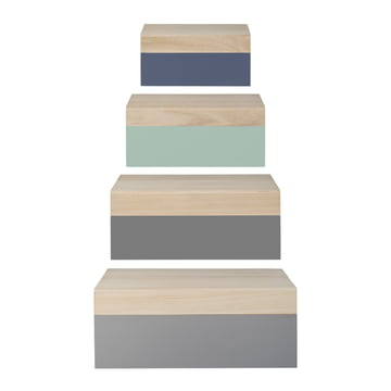 Bloomingville - Wooden Storage Boxes (set of 4), natural / pastel