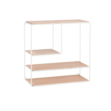 Korridor - AnyWhere wall shelf 2x2 / B 4 shelves, white / oak