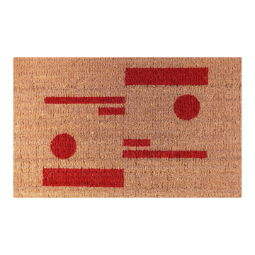 The Ruckstuhl - Doormat with Circle & Line Pattern in Red