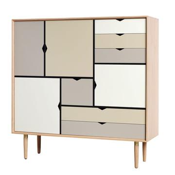 S3 Sideboard by Andersen Furniture in soaped oak / front panels silver, iron, doeskin