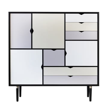 S3 Sideboard by Andersen Furniture in black lacquered oak (front panels silver, iron, doeskin)