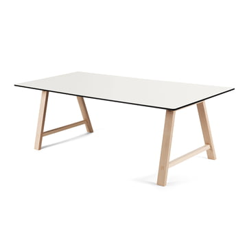T1 Extending Table 180 cm by Andersen Furniture (frame soaped oak, table top laminate, white)