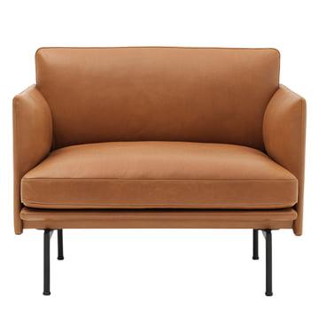 Muuto - Outline Armchair, Cognac silk leather / traffic black (RAL 9017)