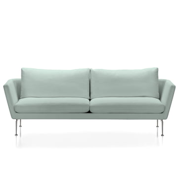 Vitra - Suita Sofa, 3-seater, Classic soft, fabric Corsaro, pale blue melange, frame polishes aluminium