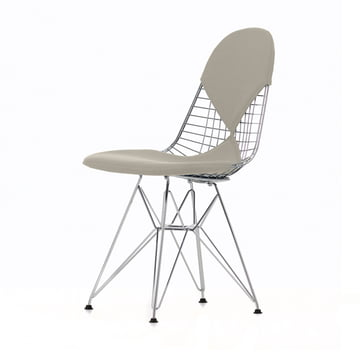 Wire Chair DKR-2 (new height) by Vitra in Hopsak Warm Grey / Ivory / Chromed Frame