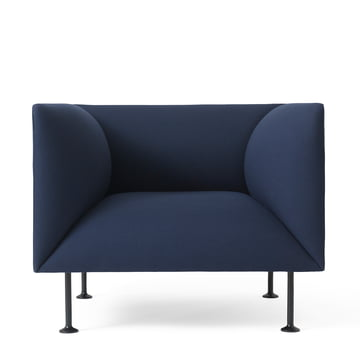 The dark blue menu Godot armchair from the front