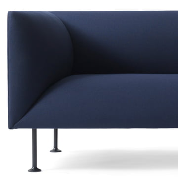 Detailed view of the Menu Godot sofa in dark blue