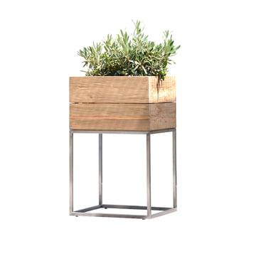Flower Pots Minigarden in Teak Wood with Rack by Jan Kurtz in Medium