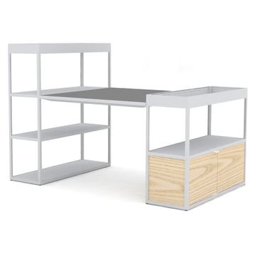 Hay - New Order Shelves with Table, light grey / grey linoleum with ash doors