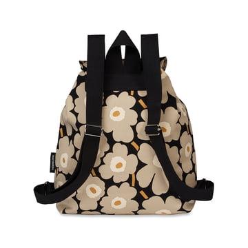 Erika Mini Unikko Backpack by Marimekko in black / sand / gold