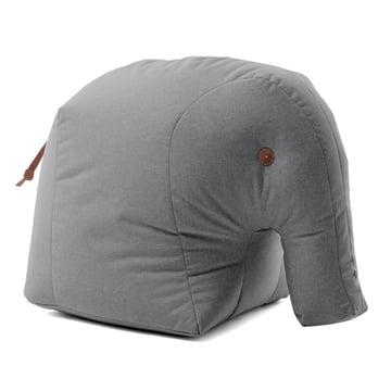 Elmar the stuffed elephant in gray fabric