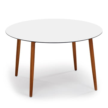 Round Slope Table 90 x 90cm by Weishäupl made of teak in white HPL