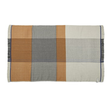 Ruana blanket in yellow / gray / blue by ames