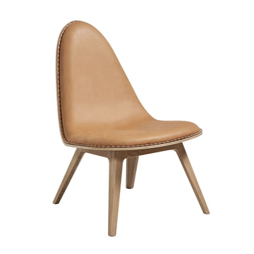 Nordic Lounge Chair by Sack it in Light Stained Oak / Leather Cognac, with Stitches