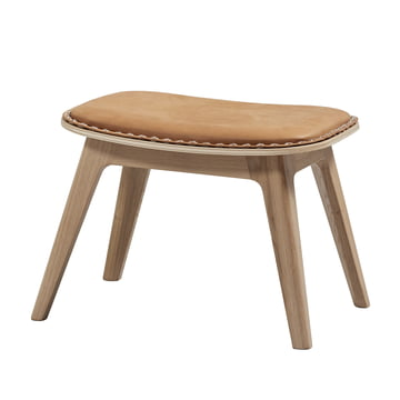 Nordic lounge chair by Sack it in light stained oak / Cognac, with stitches