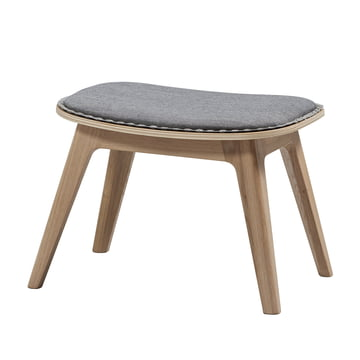 Nordic lounge chair by Sack it in light stained oak / light grey Remix, with stitches