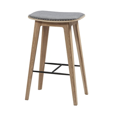 Nordic bar stool by Sack it in Light Stained Oak / Light Grey Remix, with Stitches