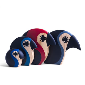 Hand painted wooden birds in various colours and sizes